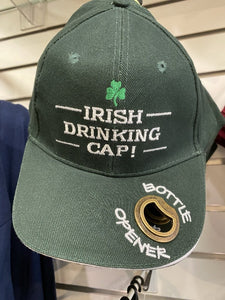 Irish drinking cap with bottle opener on brim