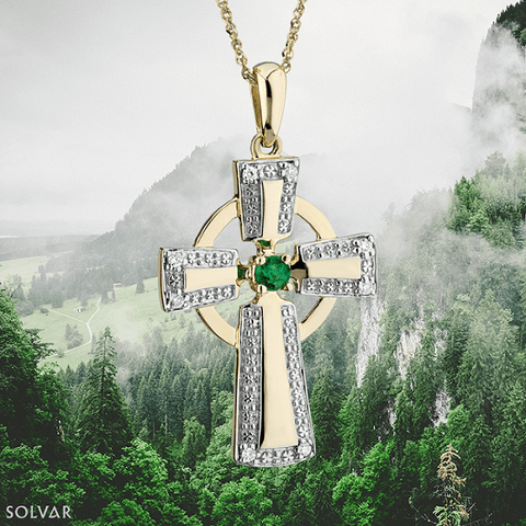 10K Diamond & Emerald Celtic Cross