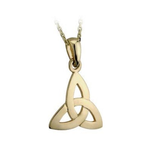 9k gold trinity knot pendant with 18 inch gold chain.  Made in Ireland.  Celtic Corner/Scottish Treasures