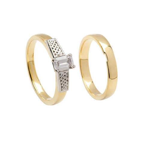 Claddagh Ring set in 14K Gold with Sapphire & Diamonds