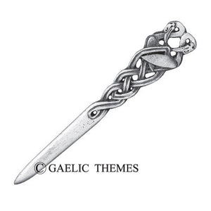 Book of Kells Wading birds kilt pin.  Made in Scotland from 100% leadfree pewter.  Scottish Treasures Celtic Corner