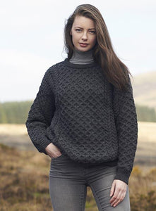 aran crewneck sweater in charcoal