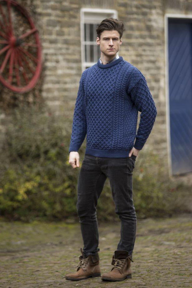 denim crewneck aran sweater