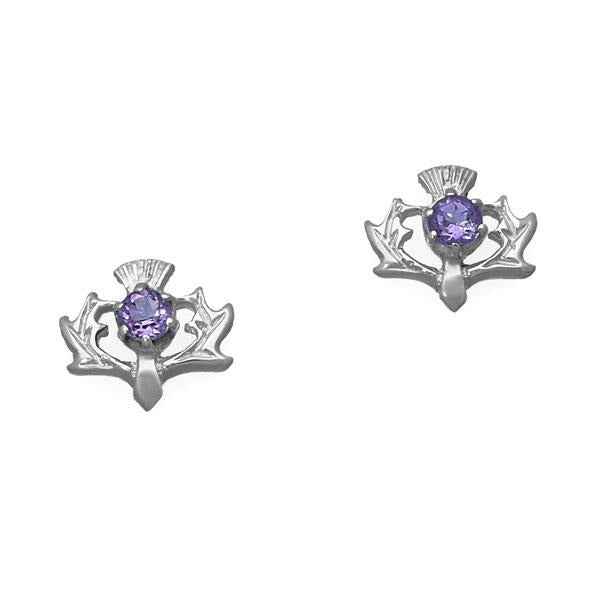 Thistle amethyst sterling silver stud earrings