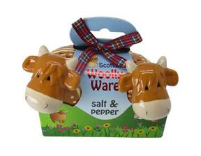 Highland cow salt and pepper shakers.  Scottish Treasures/Celtic Corner