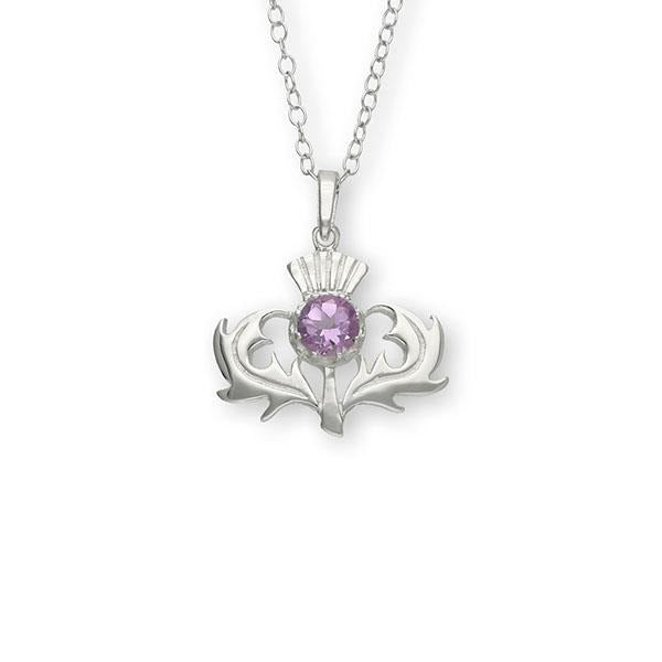 Thistle Amethyst Sterling Silver Pendant