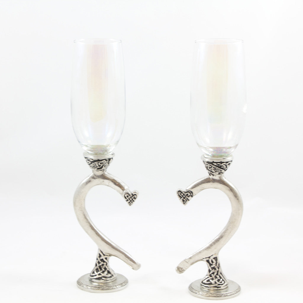 Celtic Heart Champagne Glasses