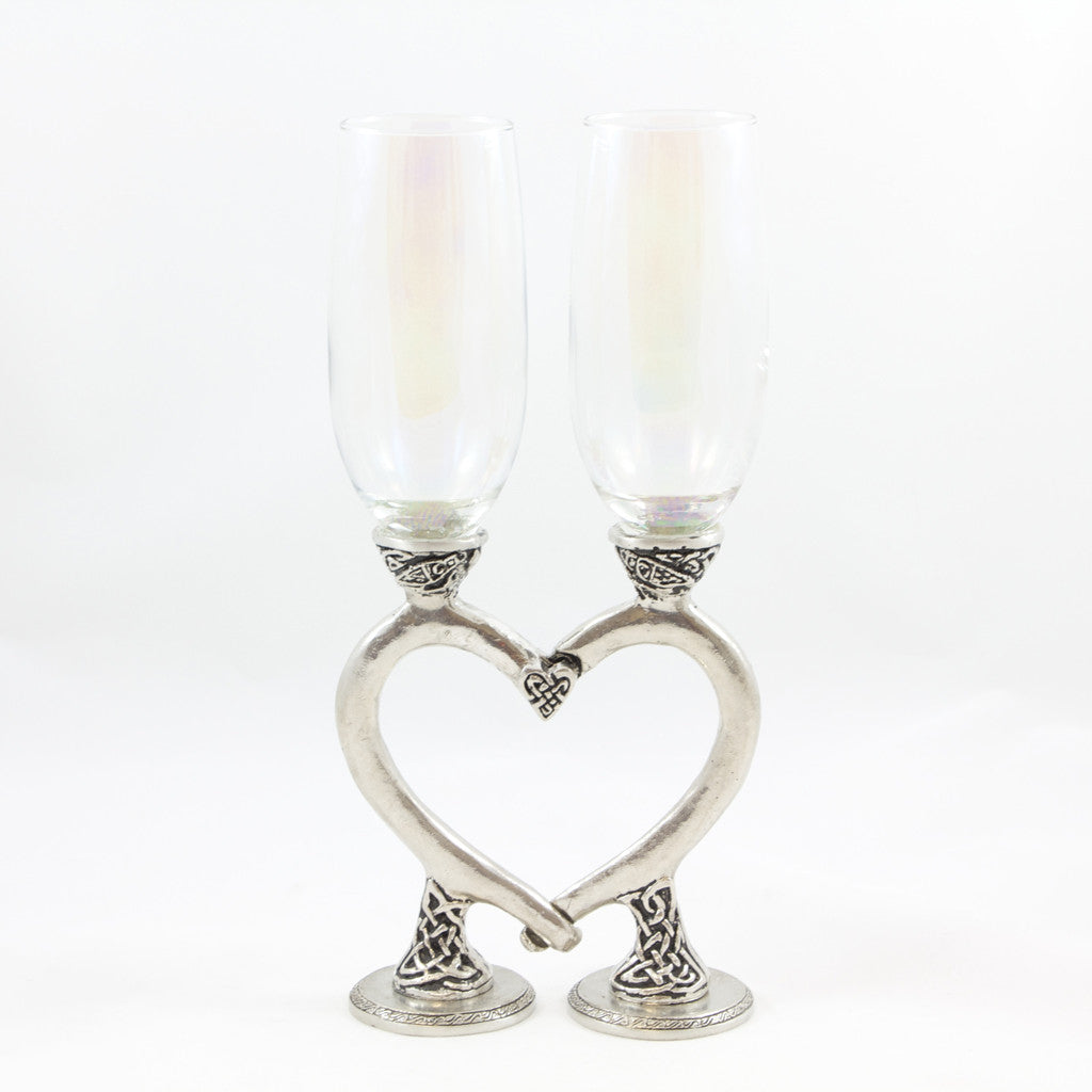 Celtic Heart pewter base champagne flutes