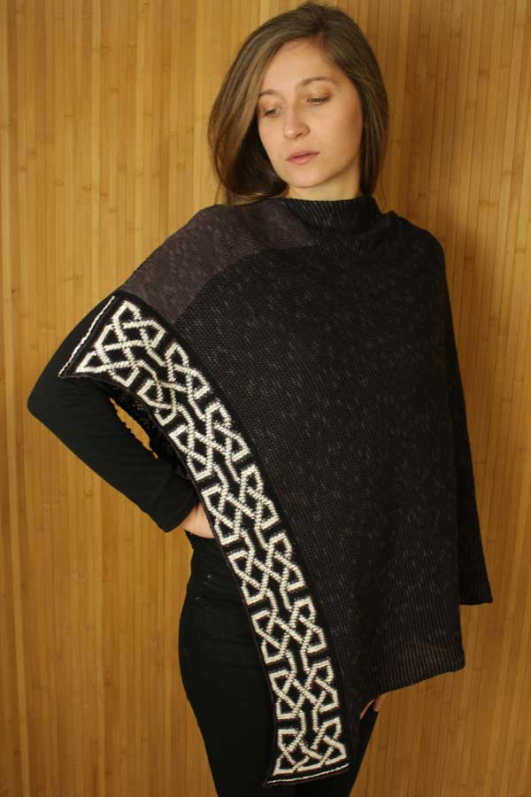 charcoal and white poncho with celtic knots