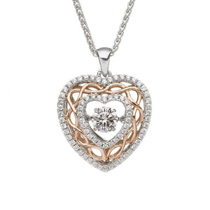 Dancing stone heart pendant with celtic knots and cz around outer circle.  Made in Ireland.  Scottish Treasures Celtic corner