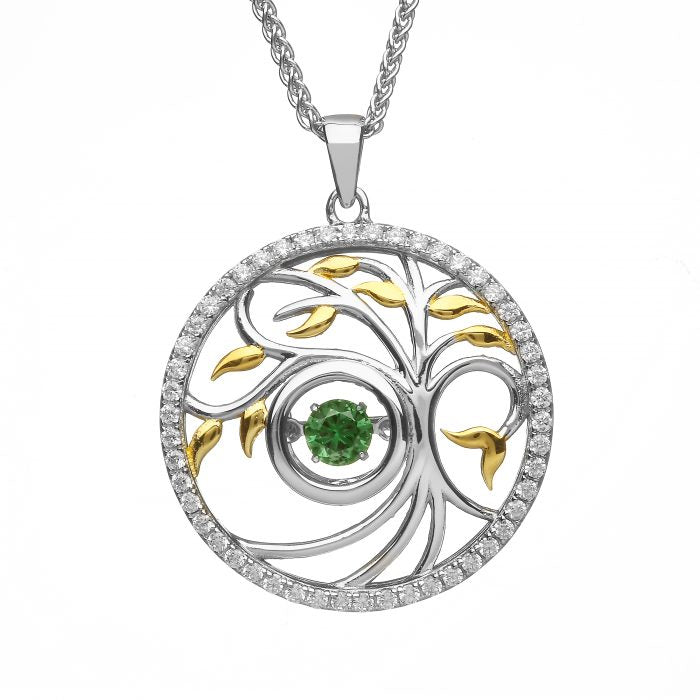Tree of life pendant with gold leaves, cubic zirchonia around the outside circle with green cz center stone.  Made in Ireland.  Scottish Treasures Celtic Corner
