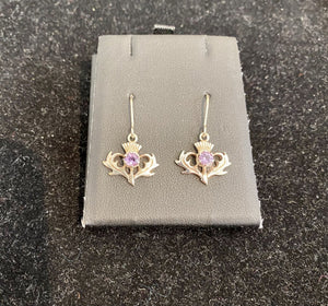 Thistle Earrings with Amethysts - Celtic Corner / Scottish Treasures