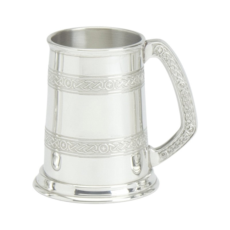 Celtic Handle tankard with two bands of knotwork.  Made in Sheffield, England.  Scottish Treasures Celtic Corner