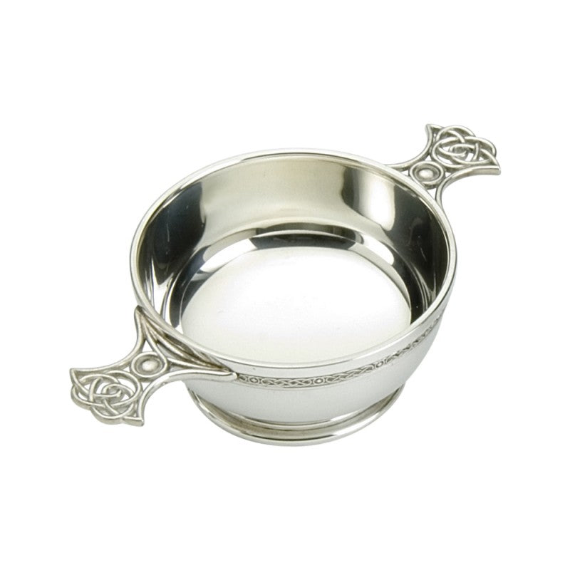 Pewter quaich with celtic weave handles.  Made in England.  Scottish Teasures Celtic Corner