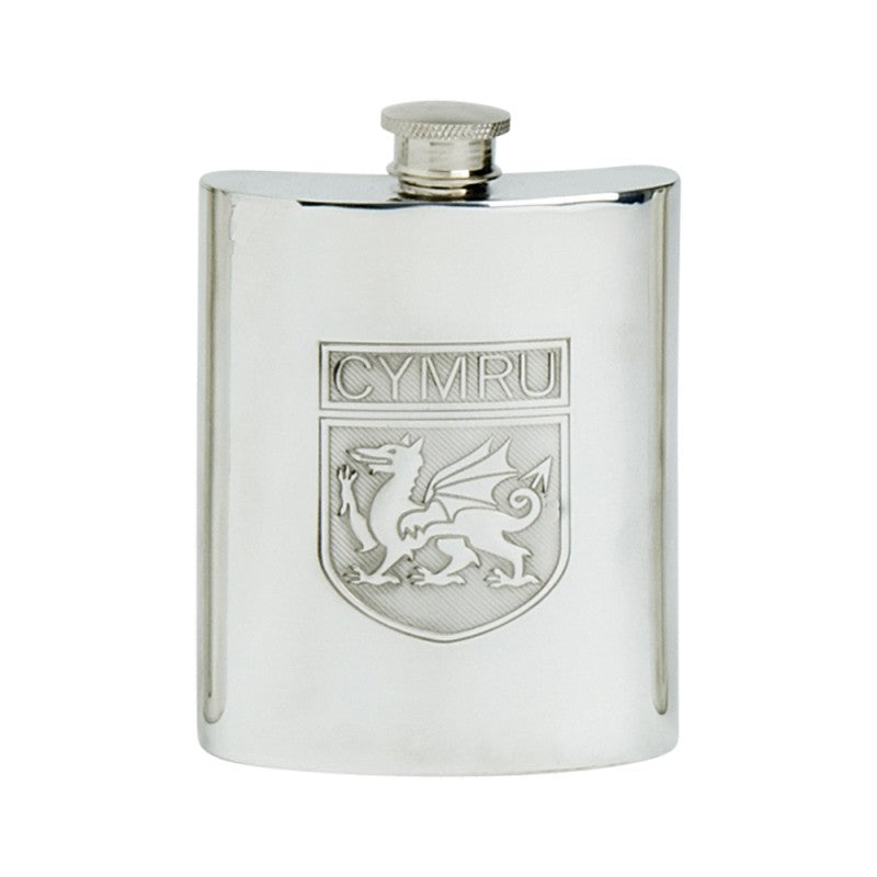 Pewter flask, 6 oz, with Welsh Dragon.  Made in England.  Scottish Treasures Celtic Corner