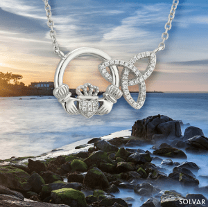 Interlocking Claddagh Trinity Pendant (CZ/Sterling)