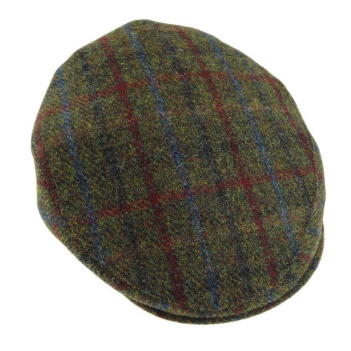 Green Check harris tweed flat cap.  Scottish Treasures Celtic Corner