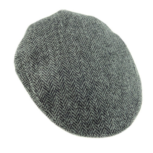Grey Herringbone Harris Tweed Flat Cap.  Scottish Treasures Celtic Corner