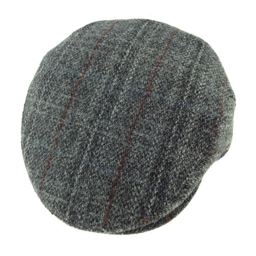 grey plaid Harris Tweed flat cap.  Fully lined.  Made in the UK.  Scottish Treasures