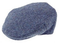Featured Harris Tweed cap in shades of denim blue.  Scottish Treasures Celtic Corner