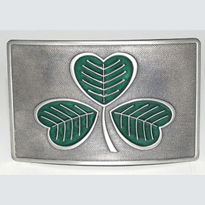 Green enamel shamrock on matt finished chrome kilt buckle.  Celtic Corner/Scottish Treasures
