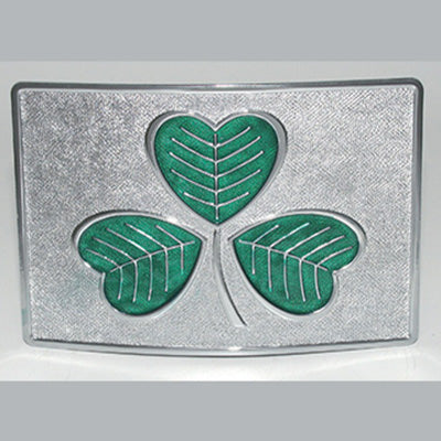 Green enamel shamrock on polished chrome kilt buckle.  Celtic Corner/Scottish Treasures