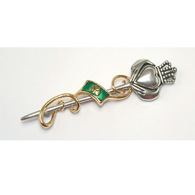 Claddagh kilt pin with shamrock enameled flag and a swirl of gold ribbon.  Made in the UK.  Celtic Corner/Scottish Treasures