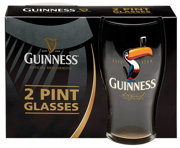 Official Guinness pint glass with toucan.  Comes in a set of two gift boxed.  Celtic Corner/Scottish Treasures
