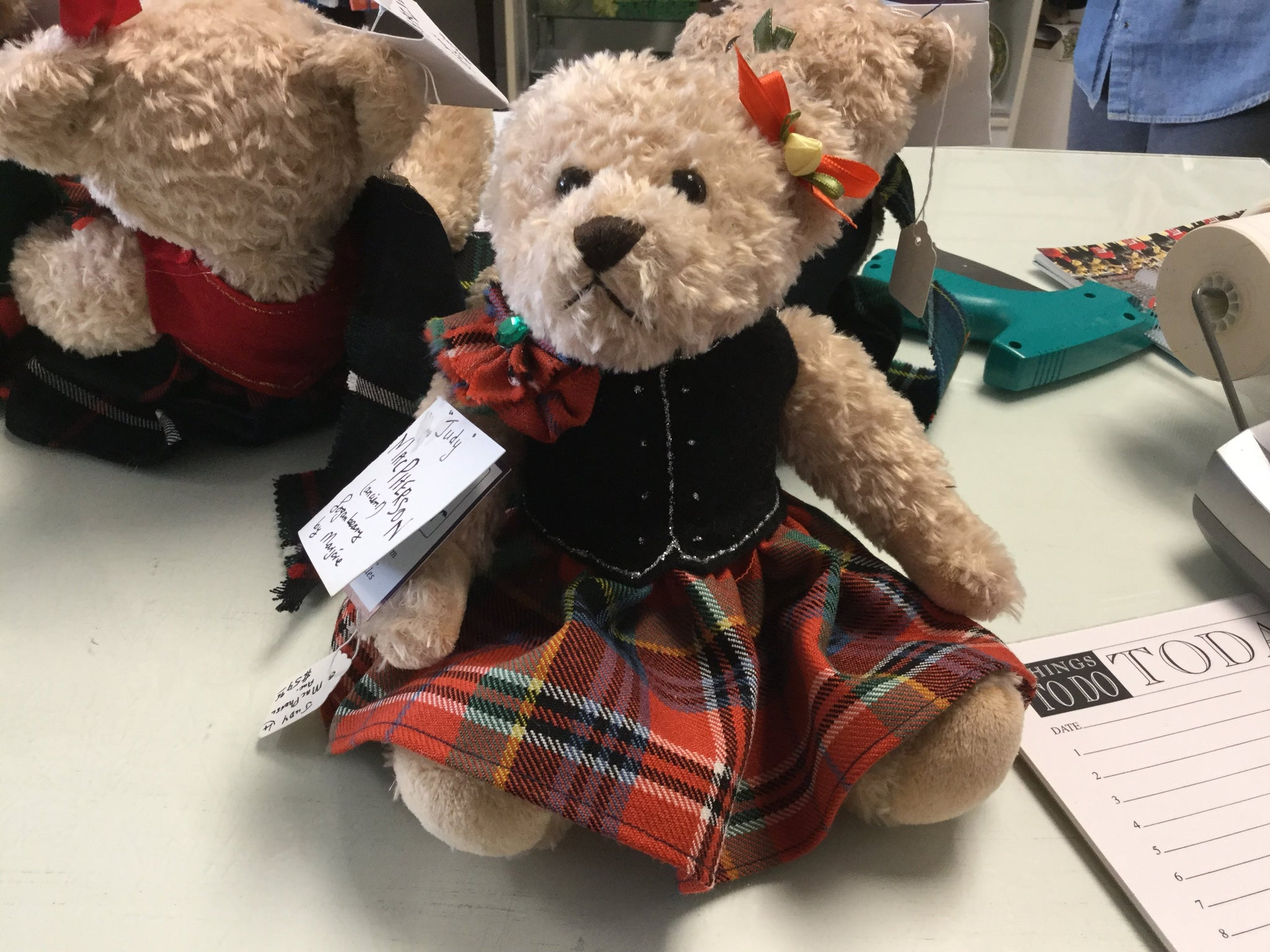 Wee girl bear dressed in tartan