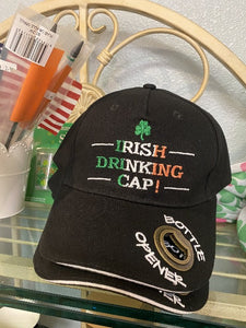 Irish Drinking Cap with bottle opener in brim and embrodiered shamrock with 3 tone Irish Flag colors used in the wording Irish Drinking Cap.  Celtic Corner/Scottish Treasures