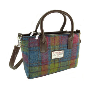 Small Harris Tweed tote in shades of pink, blue and yellow.  Two styles of straps.  Scottish Treasures Celtic Corner