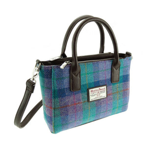 Small Harris Tweed tote in blue hues with purple.  Zipper pockets and two styles of straps.  Scottish Treasures Celtic Corner