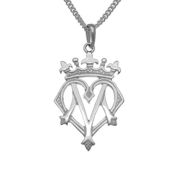 Luckenbooth silver pendant with heart and crown