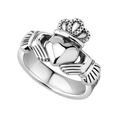 Heavy sterling silver gents claddagh ring with celtic knotwork on the band.  Made in Ireland.  Scottish Treasures Celtic Corner
