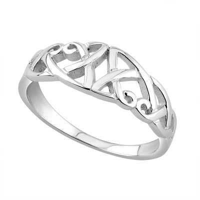Celtic knot ring in sterling silver.  Made in Ireland.  Comes boxed.  Celtic Corner/Scottish Treasures