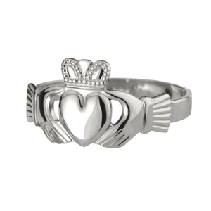 Gents heavy claddagh ring in sterling silver; Scottish Treasures/Celtic Corner