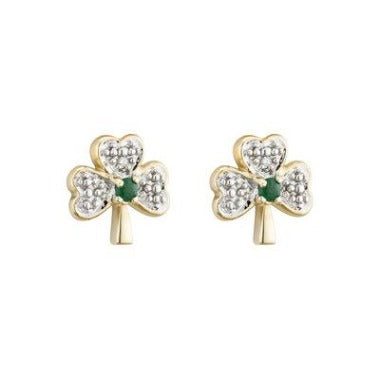 14k gold with diamond and emerald Shamrock stud earrings.  Made in Ireland.  Scottish Treasures/Celtic corner