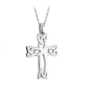 Sterling Silver Celtic Cross with Trinity Knots