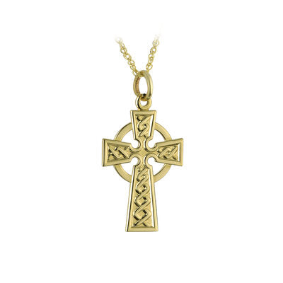 9k gold contemporary Celtic Cross necklace.  18 inch chain.  Hallmarked at Dublin Castle, Ireland.  Scottish Treasures / Celtic Corner