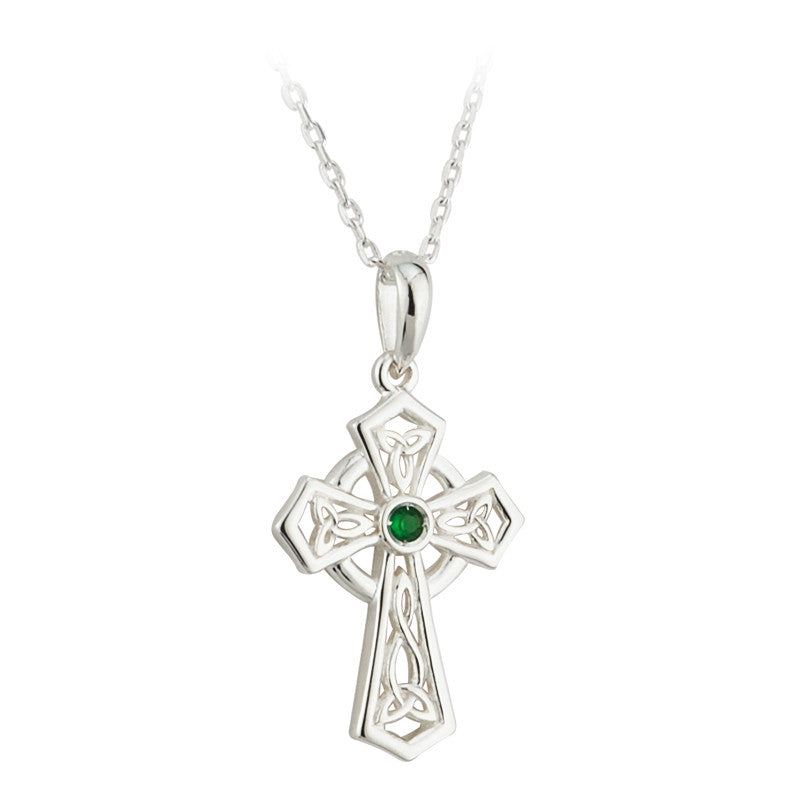 Trinity knot cross with cz emerald in center.  Sterling silver; made in ireland