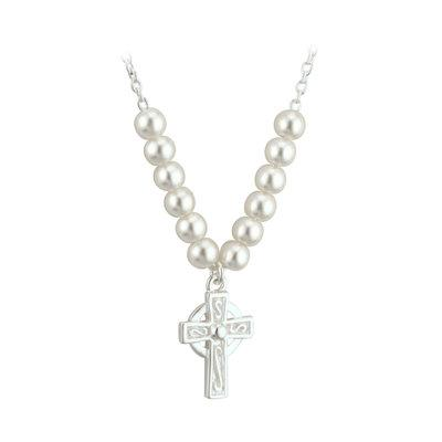 Rhodium Plated Celtic Cross Pearl Necklet (kids) - Celtic Corner / Scottish Treasures