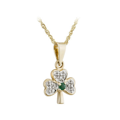 14k gold with diamond and emerald Shamrock pendant.  Made in Ireland.  Scottish Treasures/Celtic corner