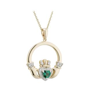 14 K Gold and Diamond Claddagh Pendant