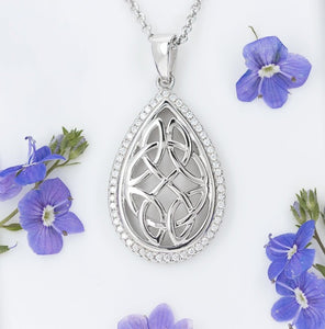 Oval Celtic Knot Pendant with CZ - Celtic Corner / Scottish Treasures