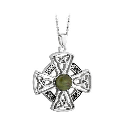 Rhodium connemara marble celtic cross pendant with trinity knots and eternity weave knots.  Made in Ireland