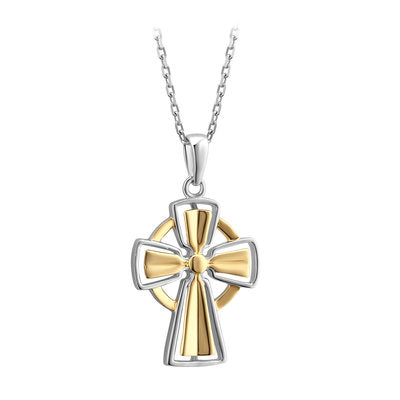 Sterling silver and gold plate celtic cross made in Ireland.  Celtic Corner
