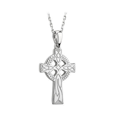 Laser engraved celtic cross in sterling silver.  Made in Ireland.  Celtic Corner Scottish Treasures