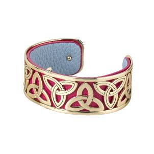 Rhodium and Gold Plated Leather Trinity Bangle