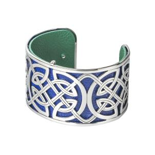 Rhodium and Leather Celtic Knot Wide Bangle