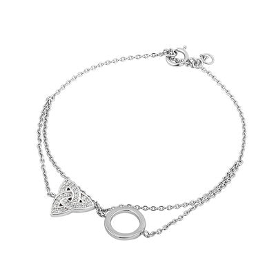 Trinity knot inlayed with crystals and friendship circle are attached to this bracelet with two chains.  Set in sterling silver and made in Ireland.  Celtic Corner/Scottish Treasures